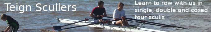 [Teign Scullers Rowing Club - Single scull on the riverbank]